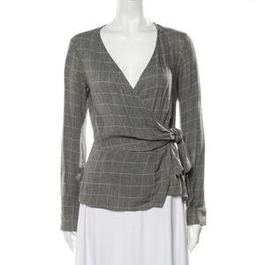 Derek Lam grey wrap blouse